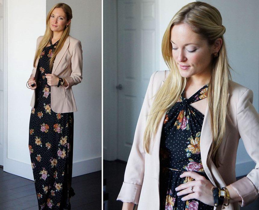 Long Dress Sifon Hitam Kombinasi Blazer