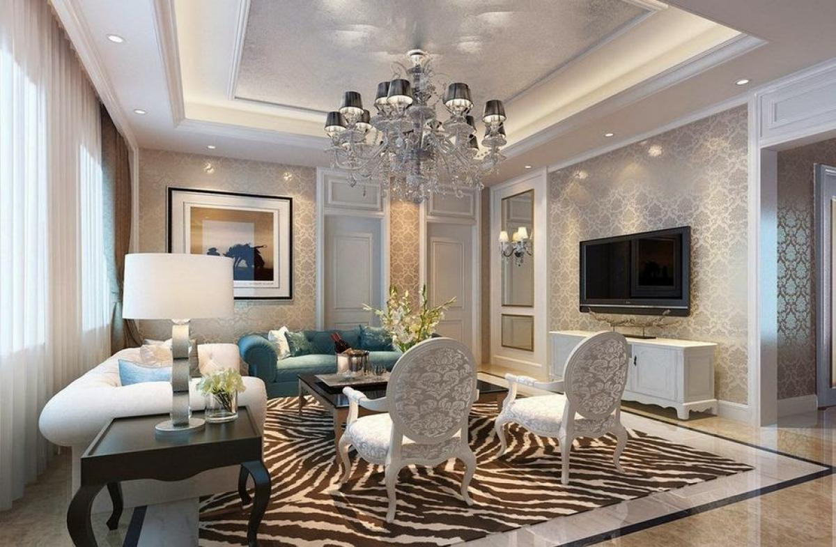 Ruang tamu minimalis mewah dan elegan dengan konsep furniture dan wallpaper sewarna bagus